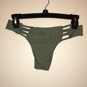 Olive green cutout bikini bottoms
